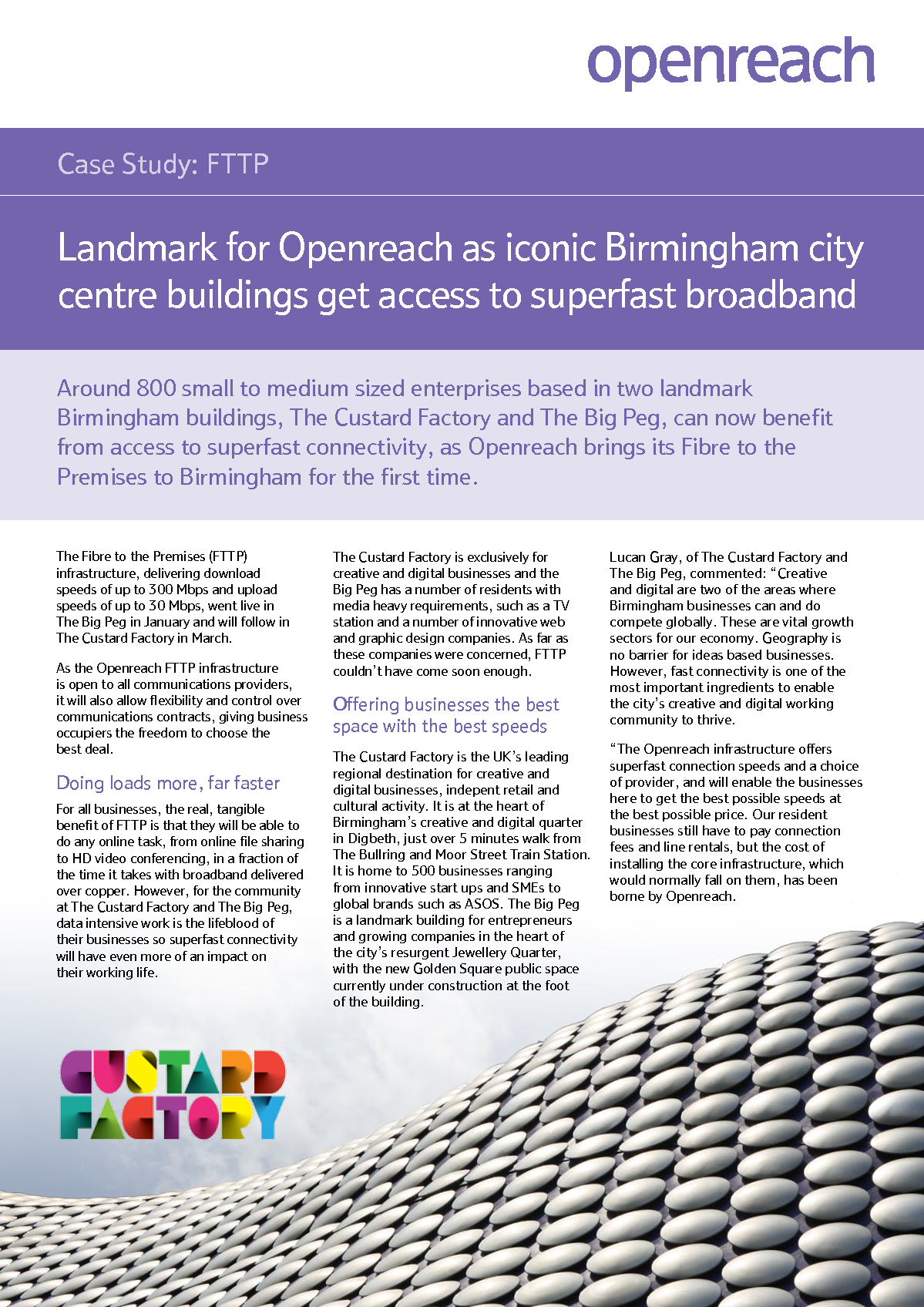 Landmark for Openreach as iconic Birmingham city centre buildings get access to superfast broadband Case Study_Page_1