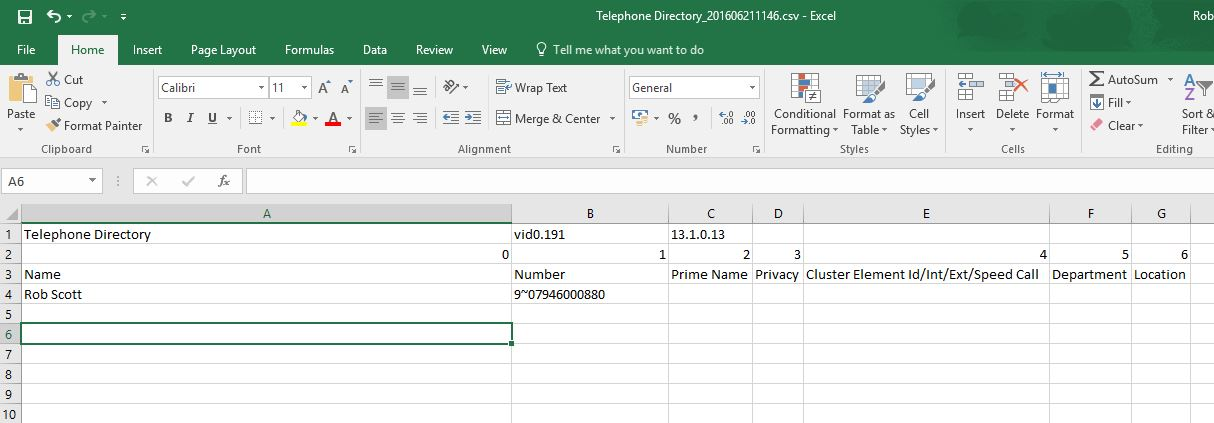Example .CSV import file
